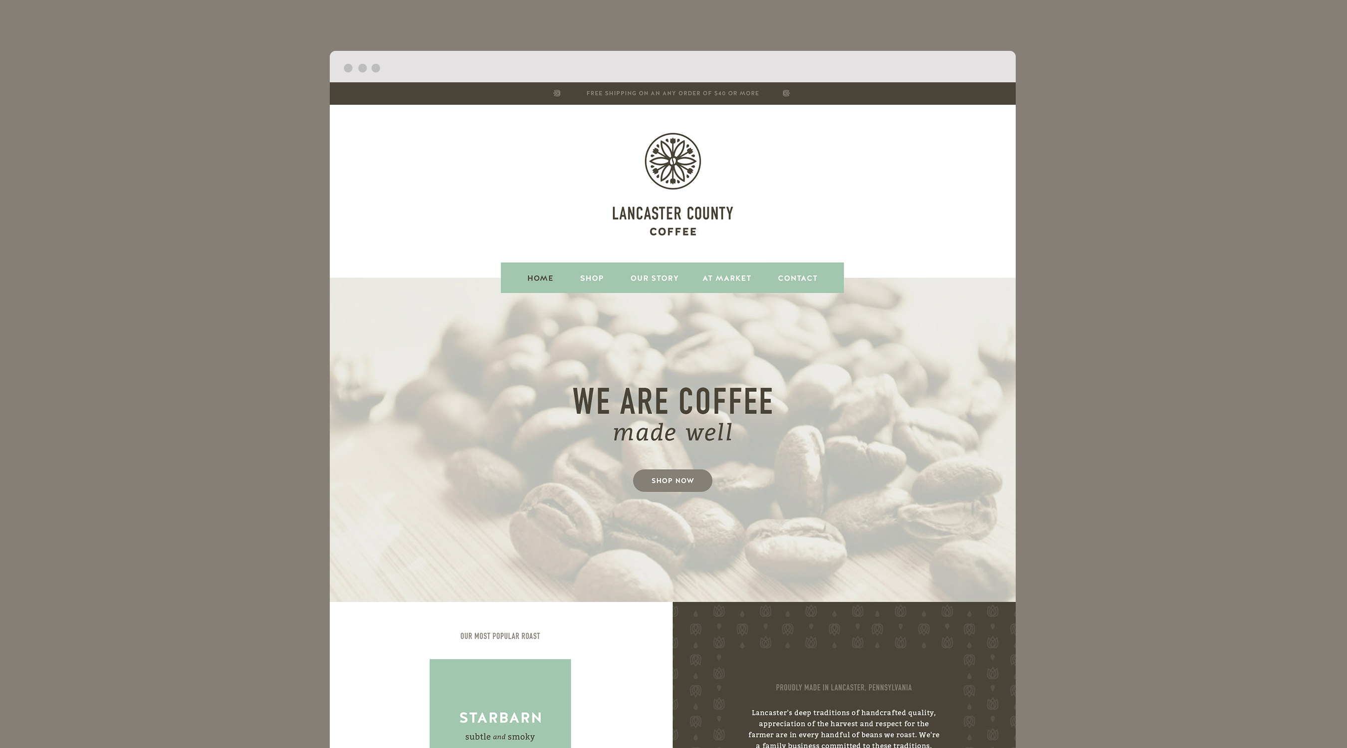 Lancaster County Coffee branding by The Curio Collective